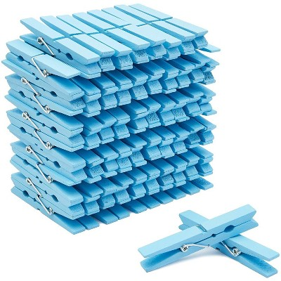 """100-Count Juvale Blue Wooden Clothes Pins 4"""" for Laundry & Decorate Photos/ Pictures/ Postcards, Cute Clothespins for Baby Shower Boys Party Favors"""