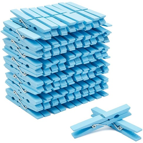 "100-Count Juvale Blue Wooden Clothes Pins 4"" for Laundry & Decorate Photos/ Pictures/ Postcards, Cute Clothespins for Baby Shower Boys Party Favors - image 1 of 3"
