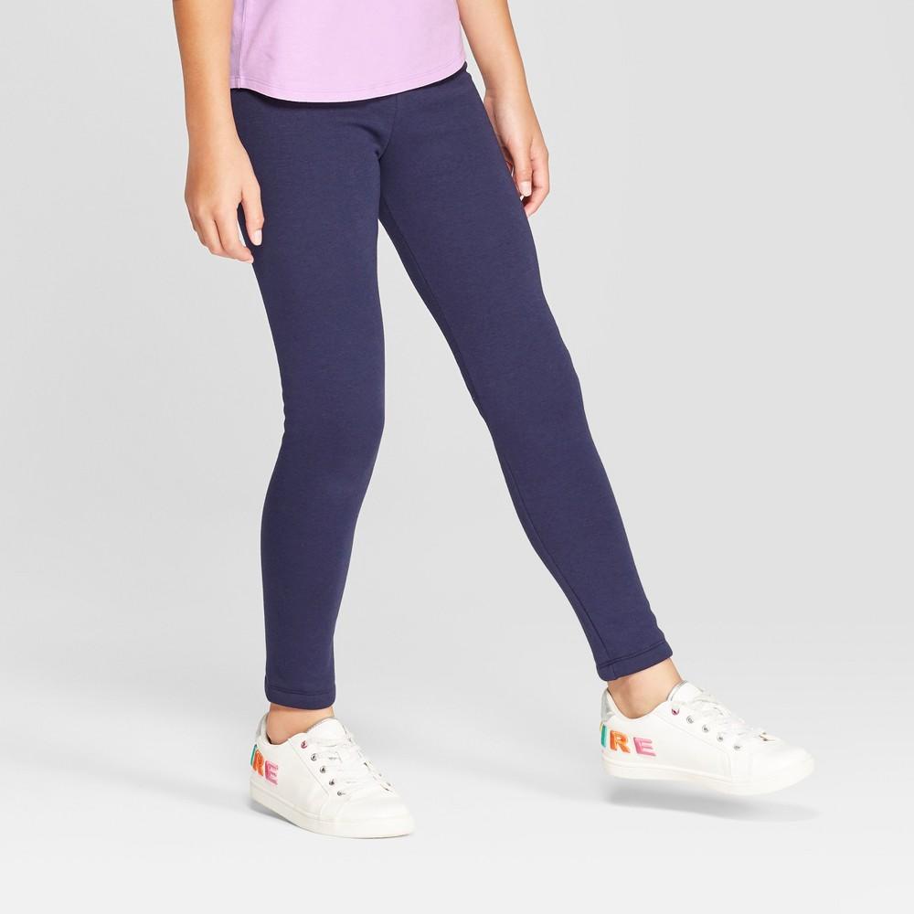 Girls' Cozy Fleece Leggings - Cat & Jack Navy (Blue) S