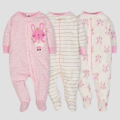 Gerber® Baby Girls' 3pk Sleep 'N Play Princess - Pink/Cream 0-3M