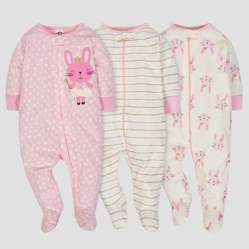 ff00b46f3 Gerber Baby Girls  3pk Sleep  N Play Princess - Pink Cream   Target