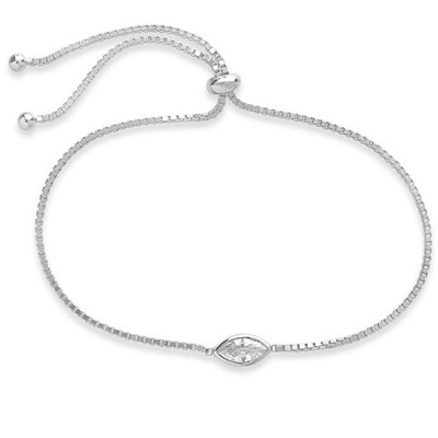 SHINE by Sterling Forever Adjustable Sterling Silver Marquise CZ Bolo Bracelet
