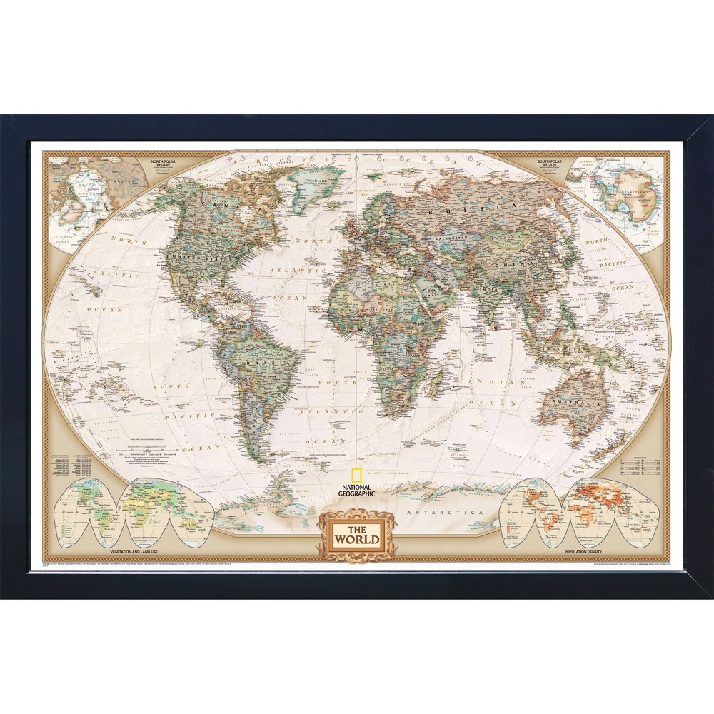 Image of Magnetic Travel Map - National Geographic - World Executive - Large, Beige