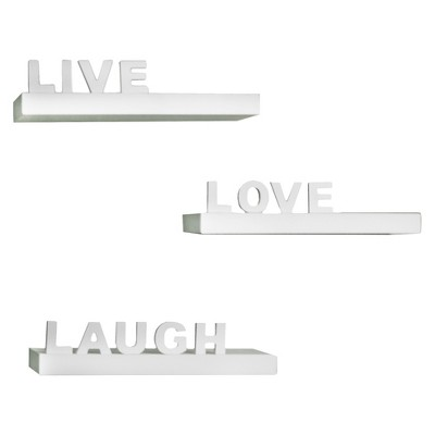 Live, Love, Laugh Shelf Set White