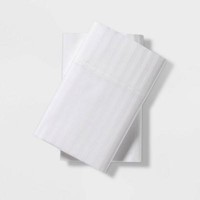 Standard 400 Thread Count Damask Solid Pillowcase Set White - Threshold Signature™