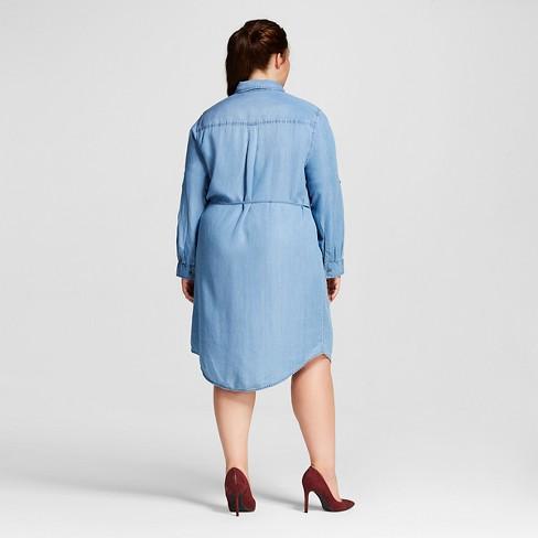 8e3388880f827 Women s Plus Size Tencel Shirtdress - Ava   Viv™ - Medium Wash 3X   Target