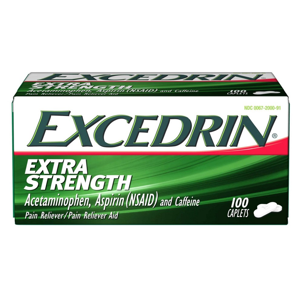 Excedrin Extra Strength Pain Reliever Caplets Acetaminophen Aspirin Nsaid 100ct