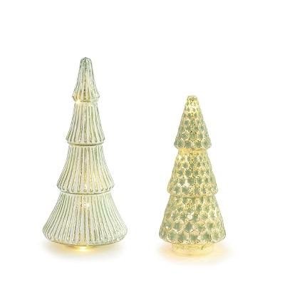 DEMDACO Lit Glass Pattern Trees - Set of 2 Green