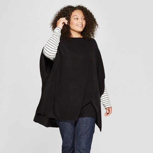 Womens Plus Size Boatneck Knit Poncho Sweater A New Day Black