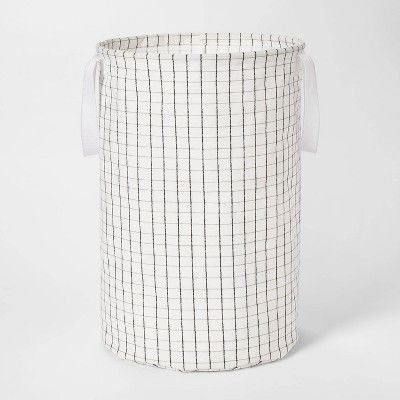 Soft Sided Scrunchable Round Laundry Hamper Grid Pattern White - Room Essentials™