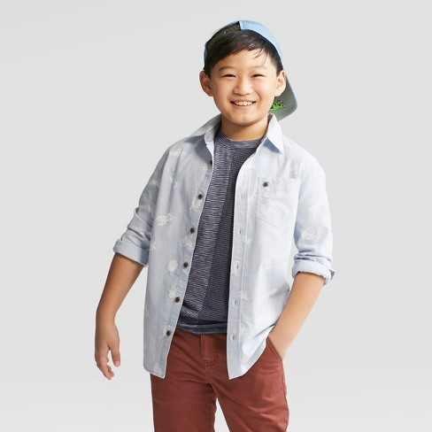 Boys' Long Sleeve Button-Down Shirts - Cat & Jack™ Blue - image 1 of 3