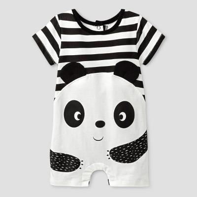 Baby Grand Signature Baby Boys' Panda Romper - Black 6-9M