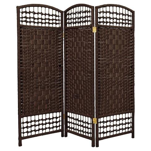 4 Ft Tall Fiber Weave Room Divider Dark Mocha 3 Panels