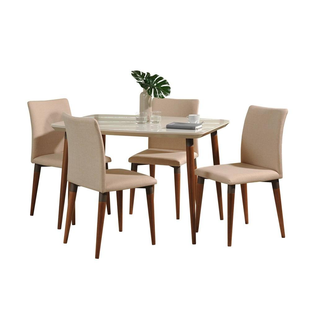 45.27 5pc Charles Dining Set Off-White/Dark Beige (Beige/Dark Beige) - Manhattan Comfort