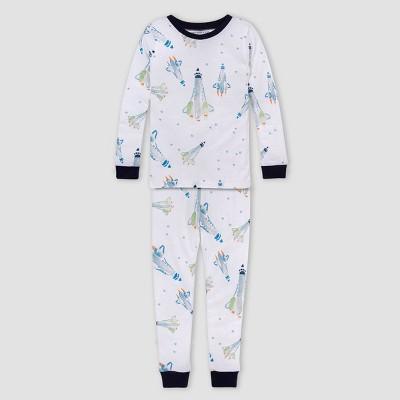 Burt's Bees Baby® Boys' 2pc Rockets Organic Cotton Pajama Set - Dark Blue