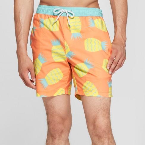 Trinity Collective Men S Fruit Print 7 Abstract Pineapple Waist Board Shorts Orange