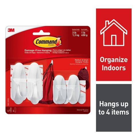 Command Small and Medium Sized Designer Hooks Value Pack (4 Hooks 4 Strips)  White