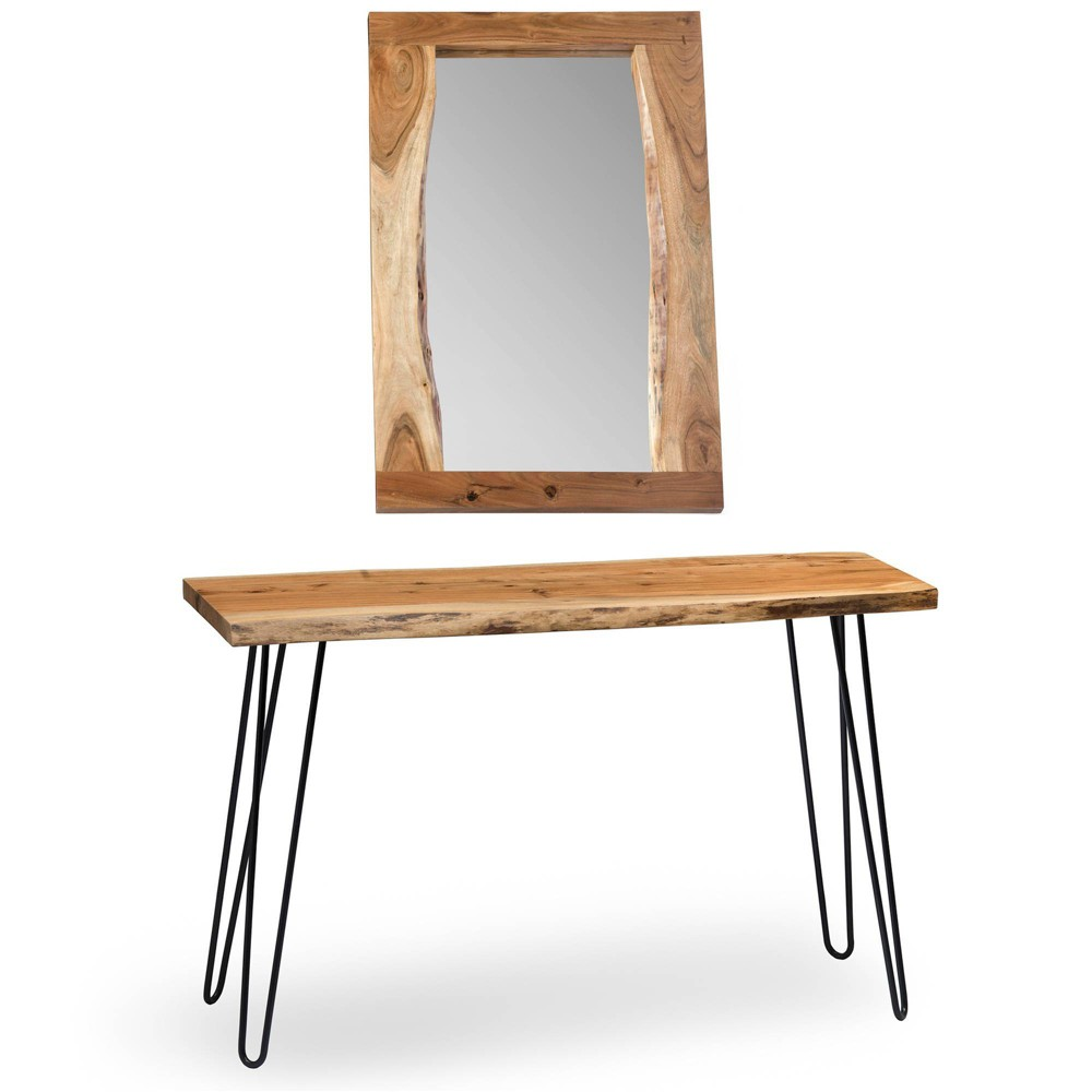 "Image of ""36"""" Hairpin Live Edge Console Table and Mirror Set Natural - Alaterre Furniture, White"""