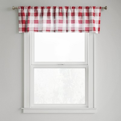 "15""x54"" Small Check Window Valance Red - Threshold™"
