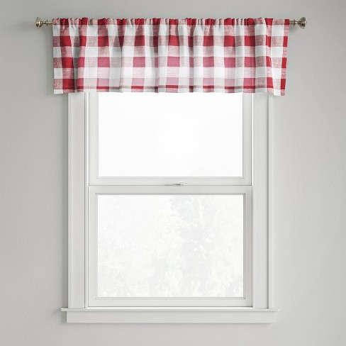 """15""""x54"""" Small Check Window Valance Red - Threshold™ - image 1 of 3"""