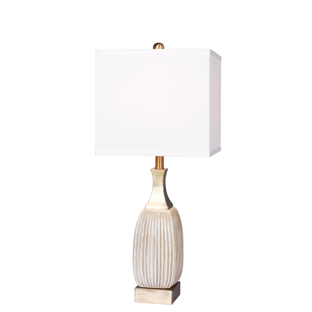 Best Shopping Vertically Ribbed Aged Ceramic Table Lamp Antique White Lamp Only Fangio Lighting