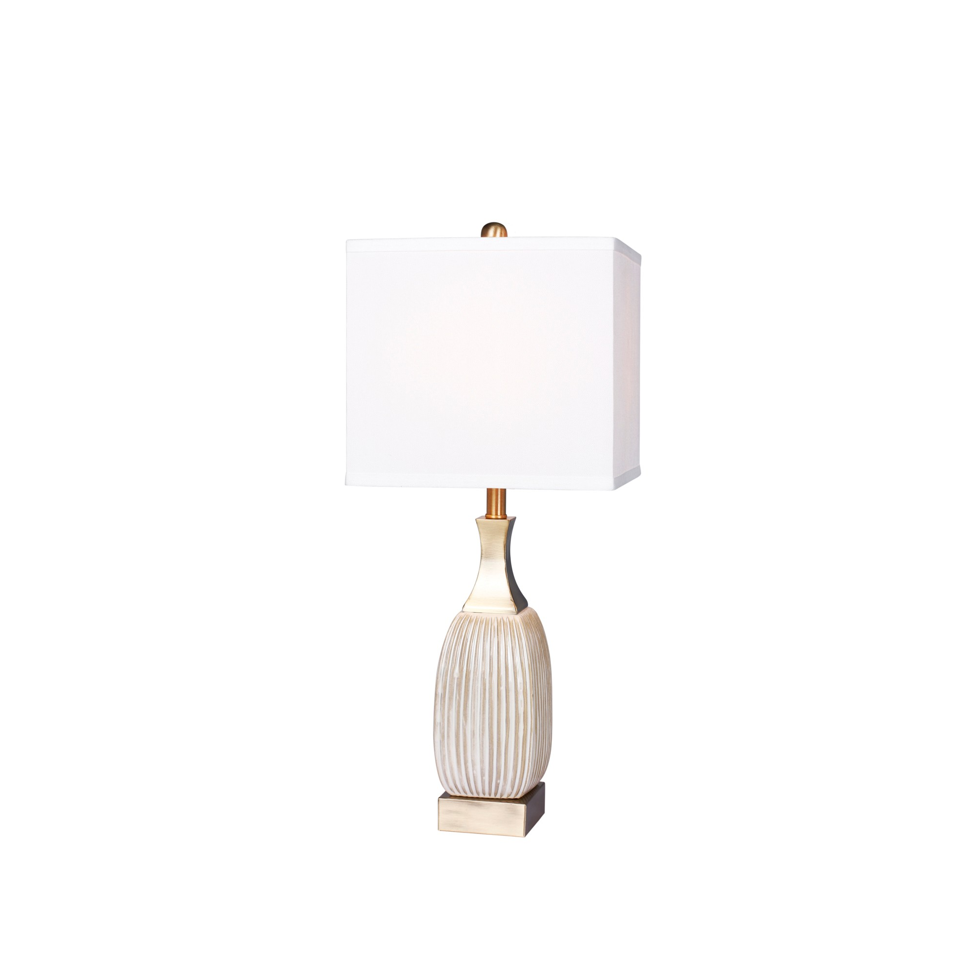 Vertically Ribbed Aged Ceramic Table Lamp Antique White (Lamp Only) - Fangio Lighting