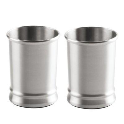 mDesign Metal Tumbler Rinsing Cup, for Bathroom Vanity, 2 Pack - Brushed