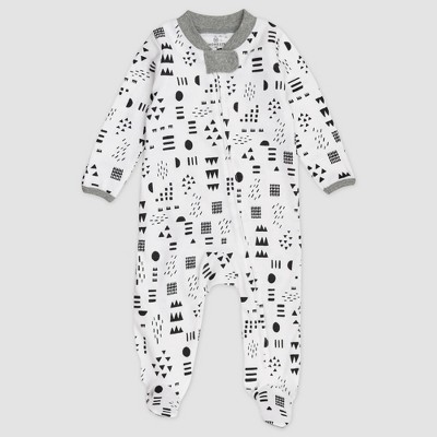 Honest Baby Baby Organic Cotton Pajama Jumpsuit - Black/White Newborn