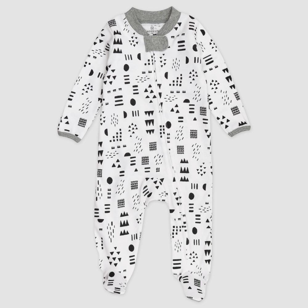 Honest Baby Organic Cotton Pajama Jumpsuit Black White Newborn