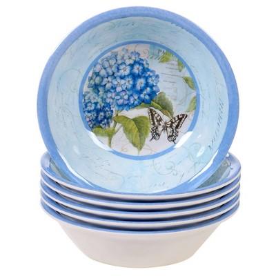 22oz 6pk Melamine Hydrangea Garden All Purpose Dining Bowls Blue/Purple - Certified International