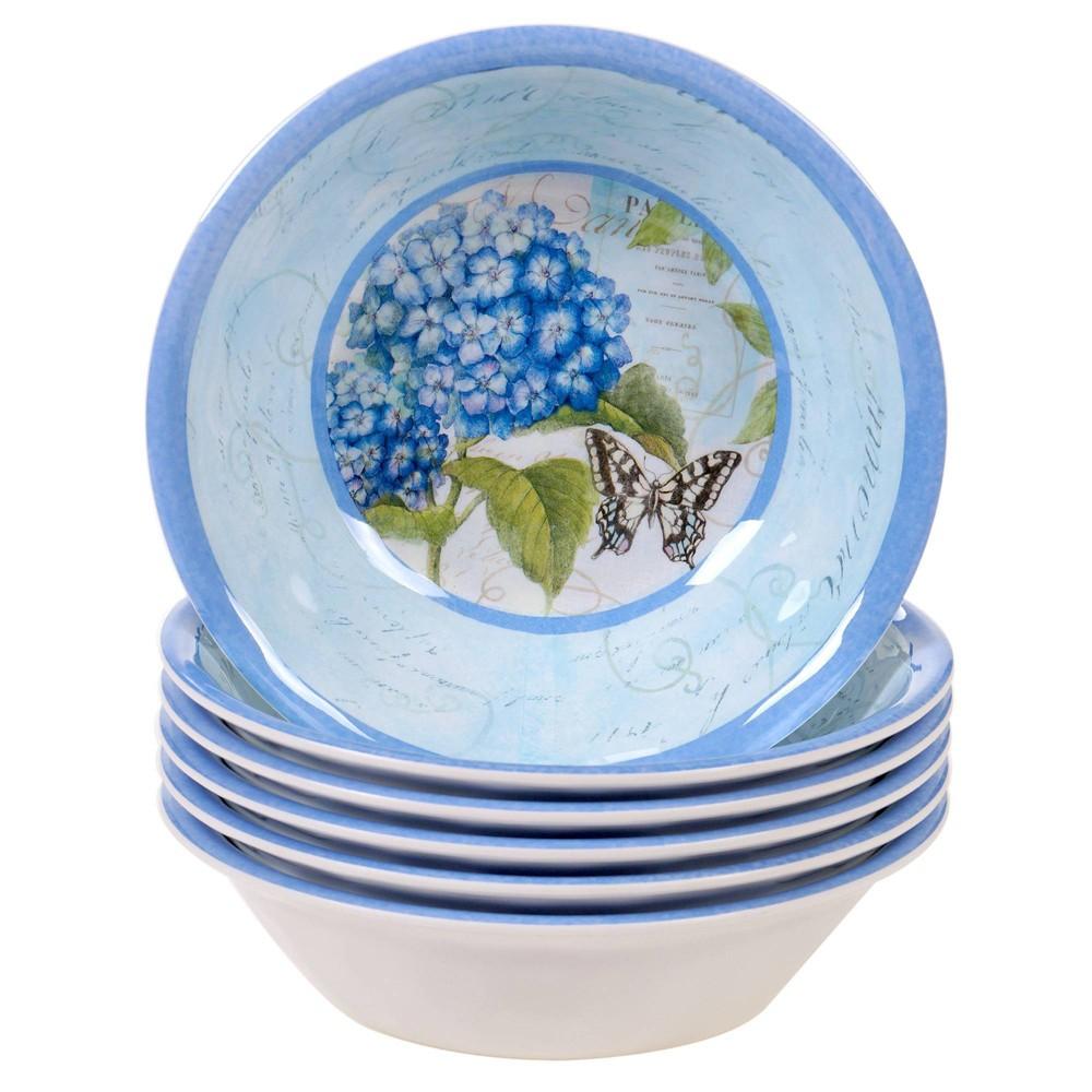 Image of 22oz 6pk Melamine Hydrangea Garden All Purpose Dining Bowls Blue/Purple - Certified International