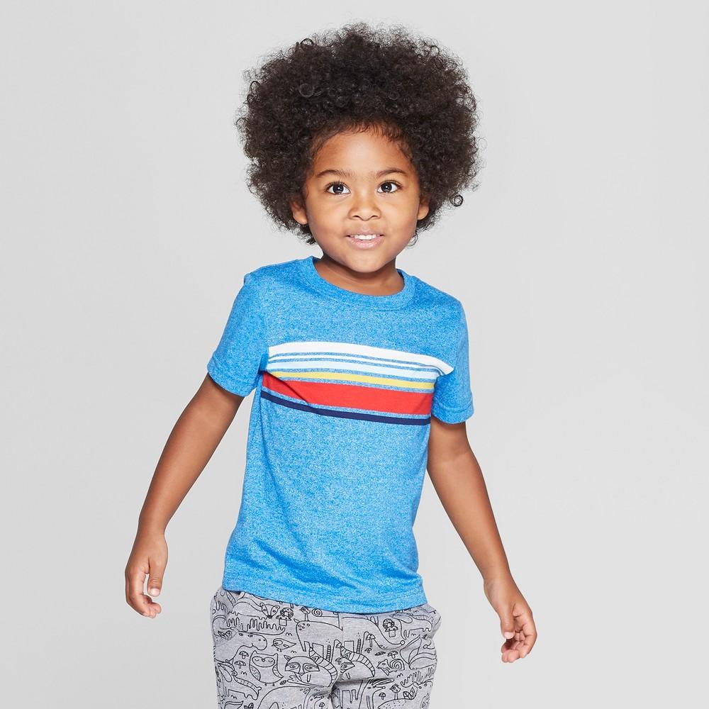 Toddler Boys' Center Stripe Short Sleeve T-Shirt - Cat & Jack Blue 5T