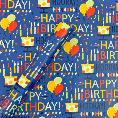 """Happy Birthday"" Script and Balloons Gift Wrapping Paper Blue - Spritz™"