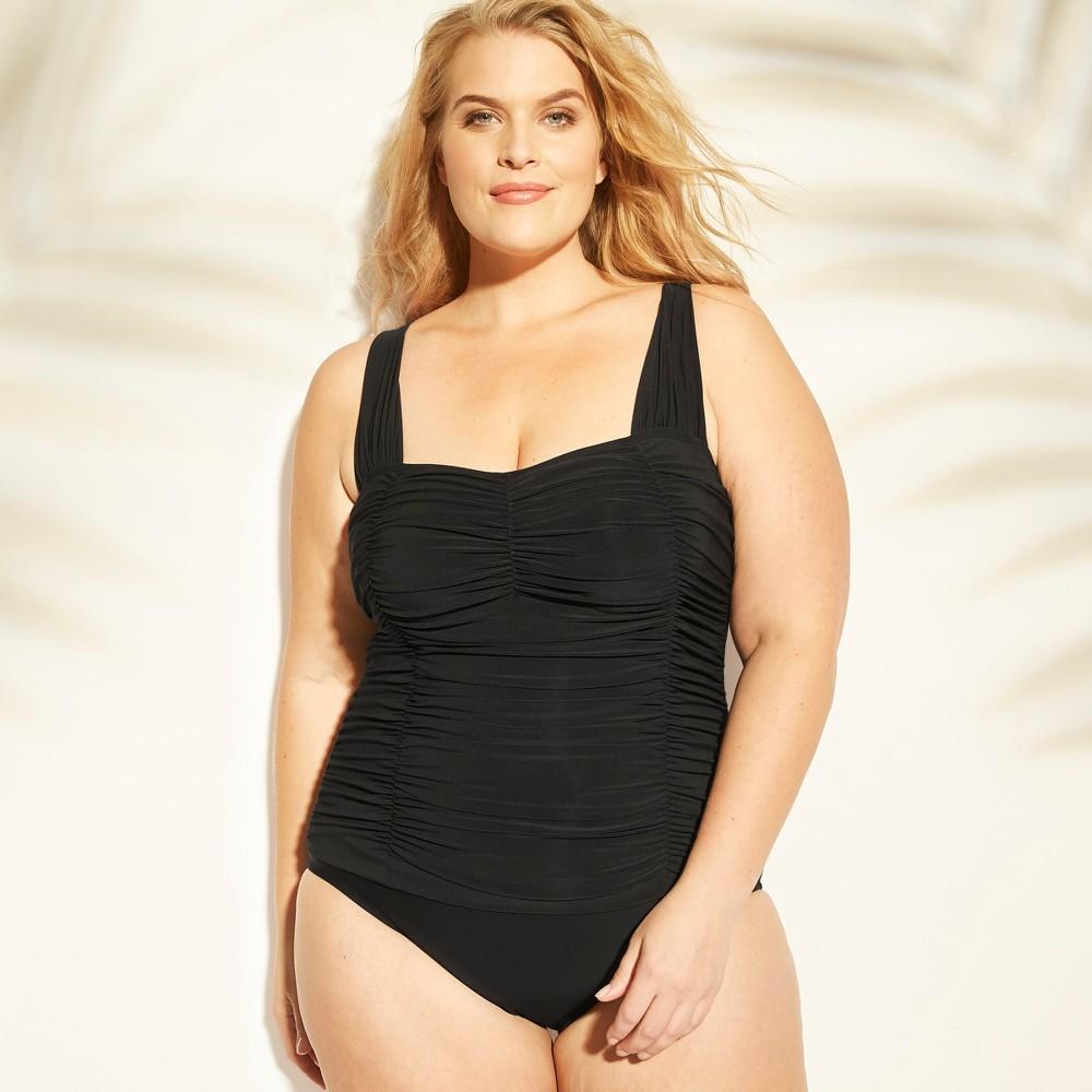 Women's Shirred One Piece Swimsuit - Aqua Green Black 24W
