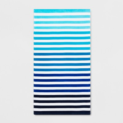 Stripe Beach Towel Ombre Blue - Sun Squad™