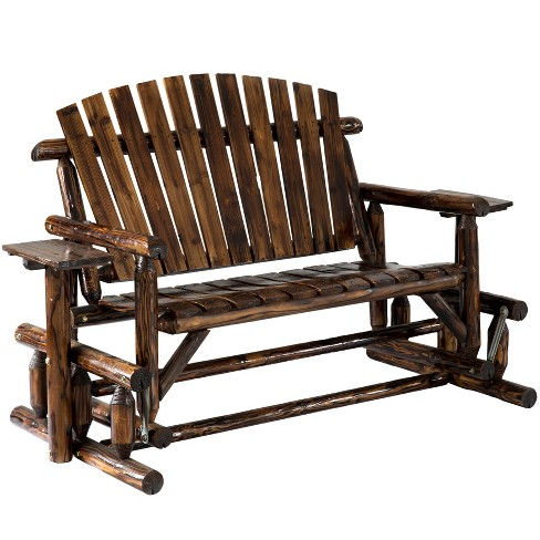 Gardenised Pinewood Outdoor Cabin Log Glider Swing with Side Tables, Brown   - image 1 of 4