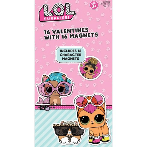16ct Lol Surprise Pets Valentine Card Pack With Magnets Target