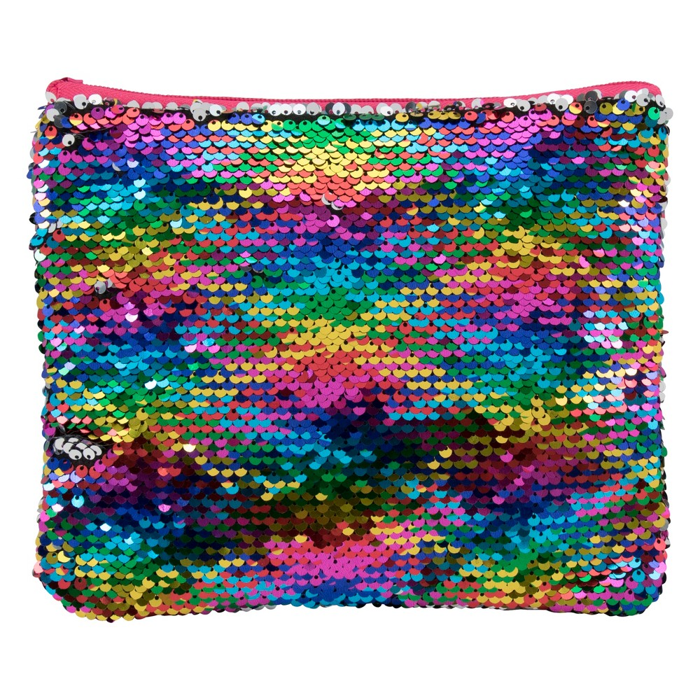Sequin Pouch Multi-color front - Silver back, Rainbow/Silver