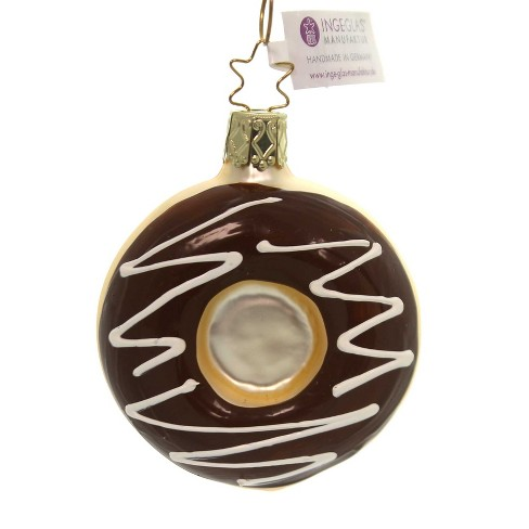"""Inge Glas 3.0"""" Chocolate Frosted Ornament Donut Sweets  -  Tree Ornaments - image 1 of 2"""