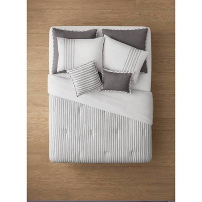 King 8pc Edenton Reversible Classic Stripe Comforter Set White/Gray - Threshold™