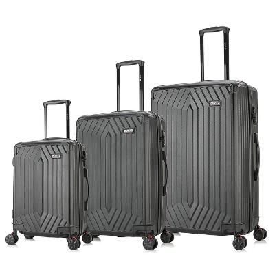 DUKAP STRATOS Lightweight 3pc Hardside Spinner Luggage Set - Black