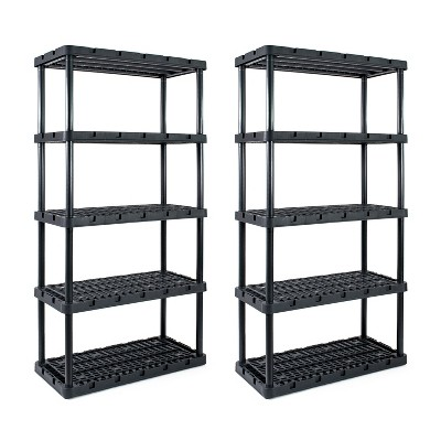 Gracious Living Knect A Shelf Heavy Duty Storage 5 Tier Shelving Unit (2 Pack)