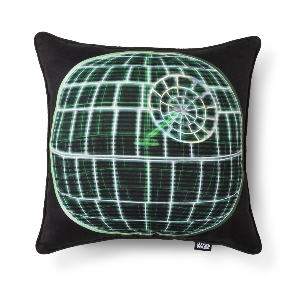 Image of Death Star Rogue One Square Pillow - Star Wars, Black