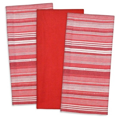 Set of 3 Red Urban Stripe Dish Cloth - Design Imports