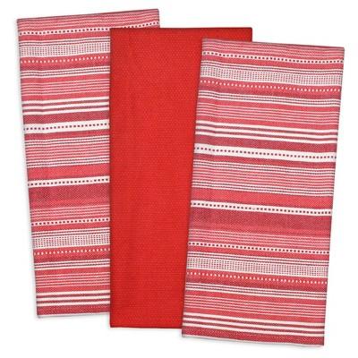 Set of 3 Red Urban Stripe Dish Cloth - Design Imports