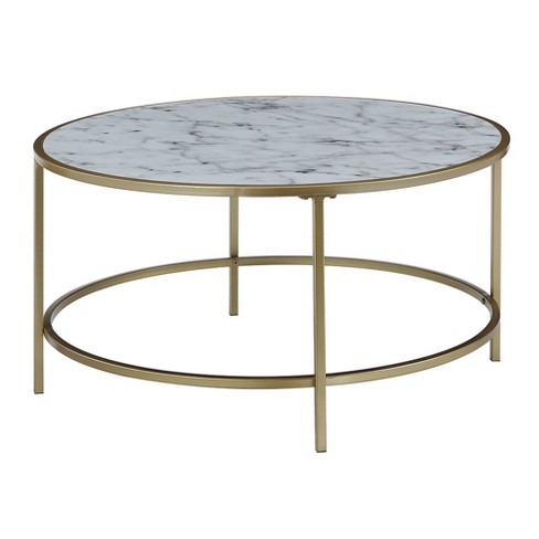 Gold Coast Faux Marble Round Coffee Table White Johar Furniture