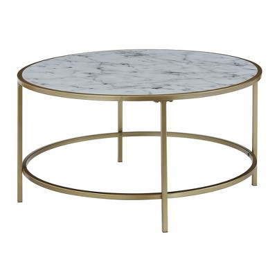 Gold Coast Faux Marble Round Coffee Table Faux Marble White   Johar  Furniture