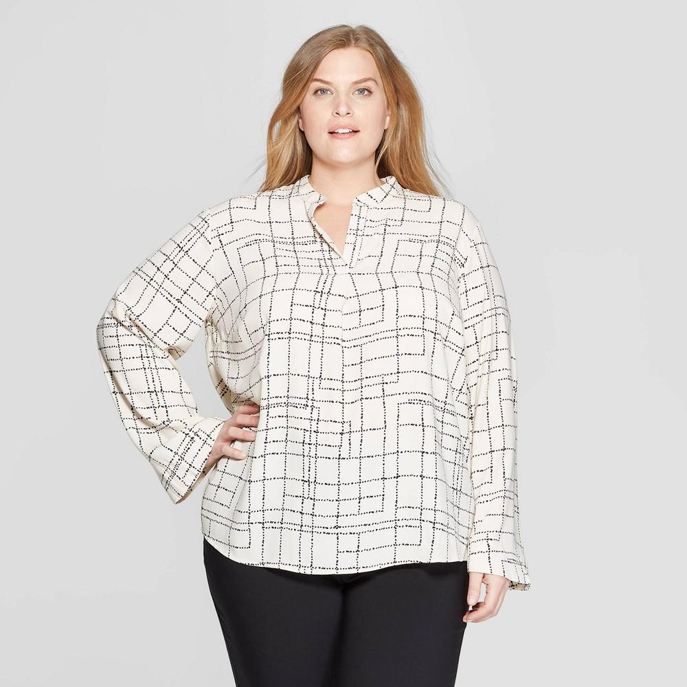 Women's Plus Size Polka Dot Long Sleeve V-Neck Popover Blouse - Prologue Cream/Black (Ivory/Black) 4X