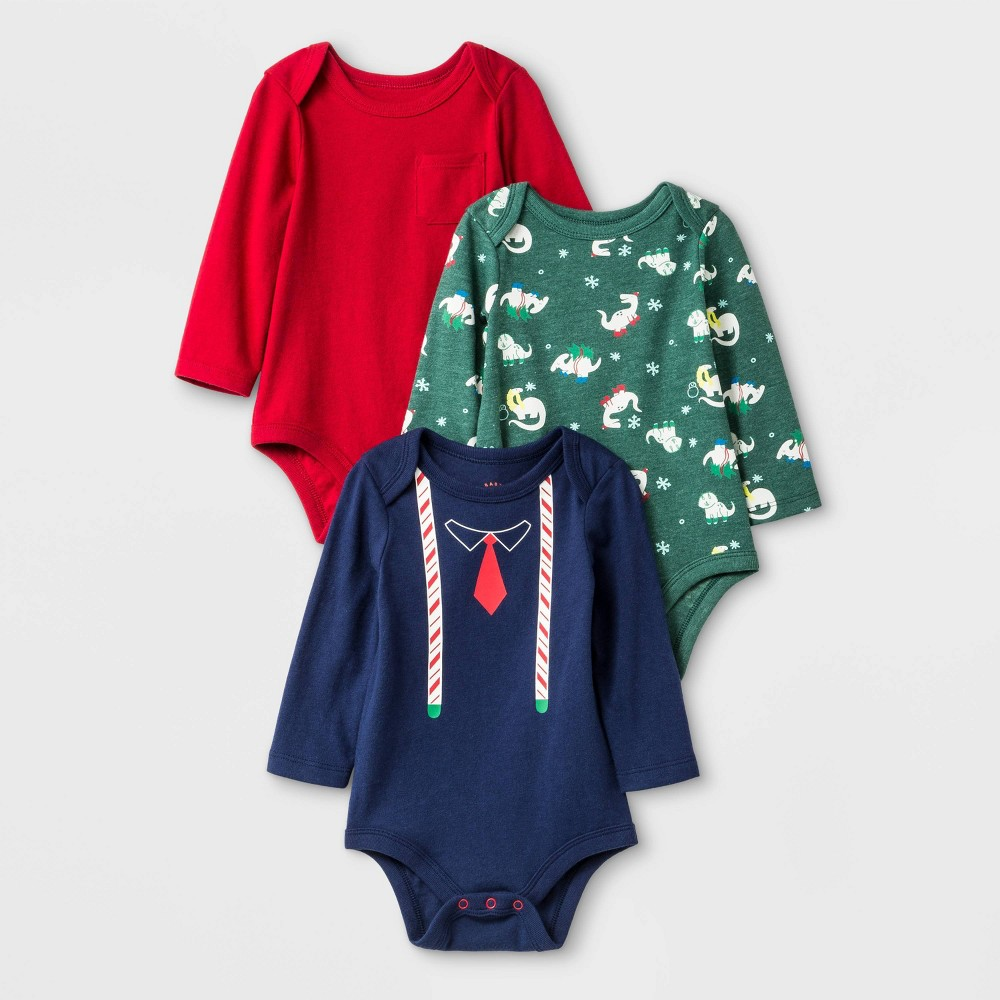 Image of Baby Boys' 3pk Long Sleeve Bodysuits - Cat & Jack Red/Green/Blue Newborn, Boy's