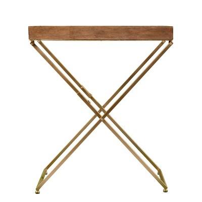Bushall Folding Side Table Natural/Gold - Aiden Lane
